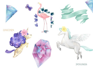 Unicorn and Pegasus and Flamingo cute clip art with ribbon and crystal on white background