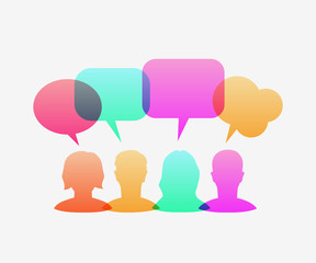 People icons with colorful dialog speech bubbles. Communication and social media concept. Vector illustration