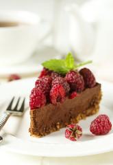 Chocolate cake with fresh raspberry.