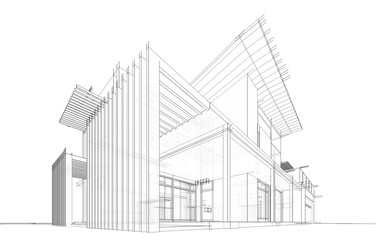 modern house building architecture 3d illustration Fototapete