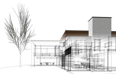 modern house building architecture 3d illustration Wall mural