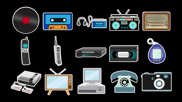 Set of stickers of old retro vintage antique hipster mobile phones, tv, audio recorder, player, audio tape, video tape, video recorder, game console, camera, computer, radio. Vector illustration
