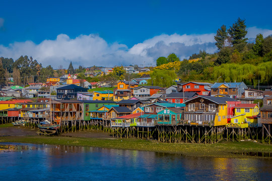 Houses on stilts palafitos in Castro, Chiloe Island, Patagonia