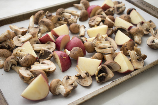 Red Potatoes and Mushrooms on a Sheet Pan
