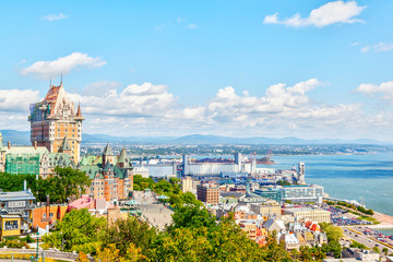 Old Quebec City Skyline With Frontenac and St Lawrence River