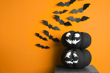 Set of Halloween decorations on color background. Space for text