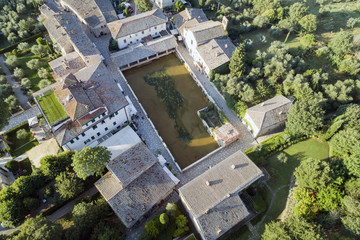 aerial shot of the lovely village of bagno vignoni in val d'Orcia