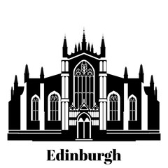 Black and white building of Edinburgh St Giles Cathedral Facade in Scotland, United Kingdom. Historic sight attraction England sightseeing. Travel icon landmark. City architecture of Great Britain.