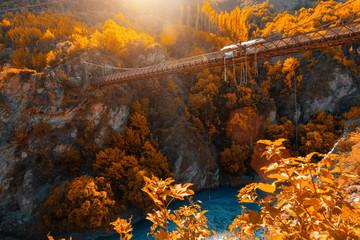 Keuken foto achterwand Oceanië Bungee jump in Autumn in New Zealand