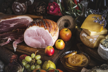 Honey roasted ham food photography recipe idea
