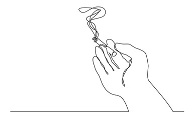 continuous line drawing of hand holding smoking cigarette