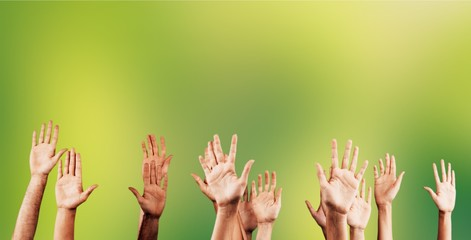 Set of raised group hands