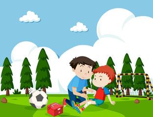 Boy injured from football