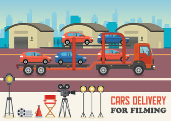 Cars Delivery for Filming. Vector Flat Illustration.