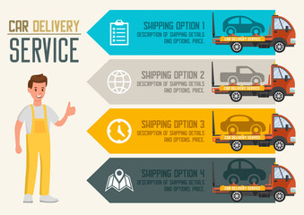 Car Delivery Service. Vector Flat Illustration.
