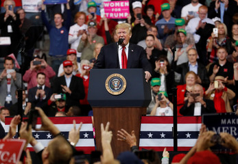 U.S. President Donald Trump holds a campaign rally in Council Bluffs