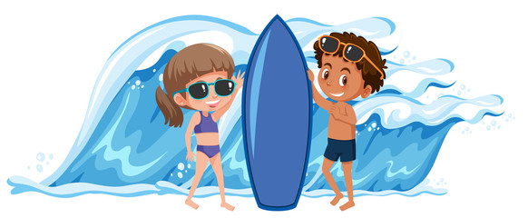 Boy and girl holding the surfboard