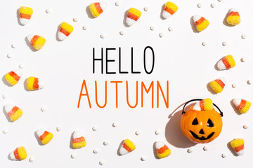 Hello Autumn message with pumpkin overhead view on a solid color