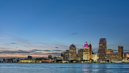 Skyline of Detroit Michigan at sunset
