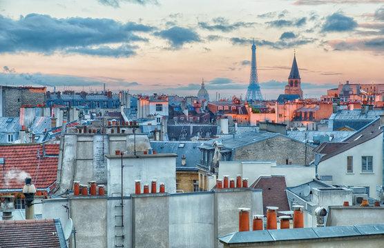 Cityscape of Paris at sunrise