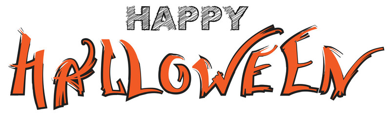 Happy Halloween text greeting card isolated on white