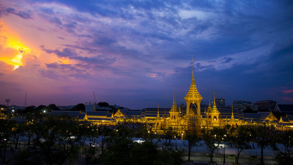 BANGKOK, THAILAND - NOVEMBER 16 2017: The Royal Crematorium for HM King Bhumibol Adulyadej at Sanam Luang. After the ceremony was completed open for the public. 2nd anniversary pass away.