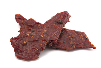 Black Pepper Beef Jerky on a White Background