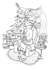 Lucky Pig. Black outline coloring book.