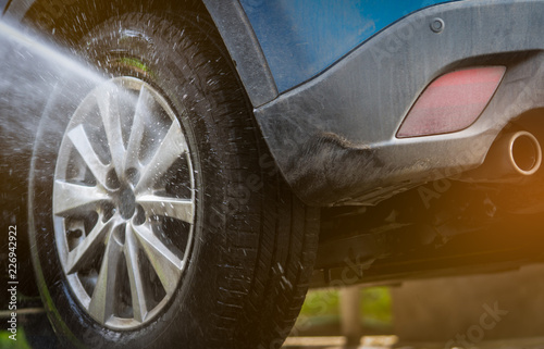 Spray Car Wash >> Dirty Blue Suv Car Are Washing With Water Car Care Service