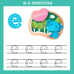 Alphabet Letter E-elephant exercise,paper cut concept vector illustration