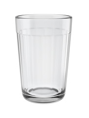 Empty faceted glass isolated on white background, 3D illustration.