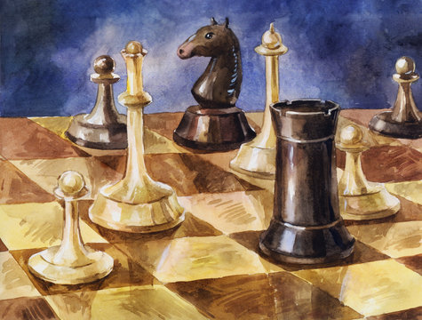 Wooden chess on the board. Hand drawn watercolor vintage background or illustration of intellectual game