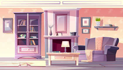 Living room interior vector illustration of apartment in vintage French Provence cozy comfortable style. Modern furniture bookshelf, armchair with blanket and carpet at fireplace