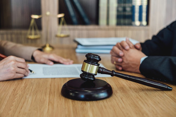 Customer service good cooperation, Consultation between a Businesswoman and Male lawyer or judge consult having team meeting with client, Law and Legal services concept
