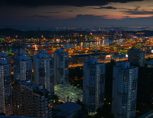 Cityview of Singapore at blue hour