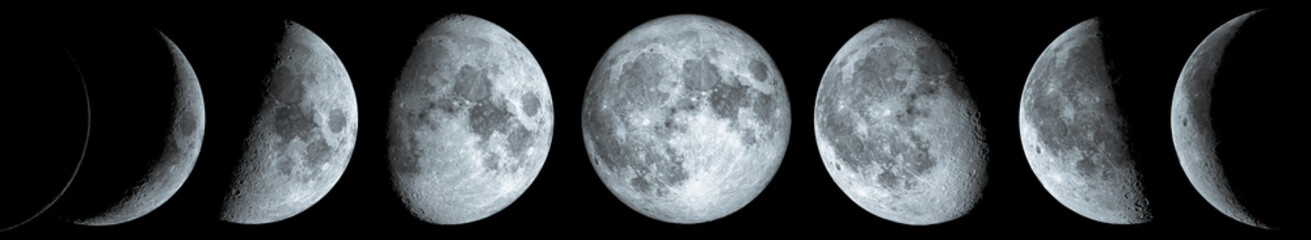 Phases of the Moon: waxing crescent, first quarter, waxing gibbous, full moon, waning gibbous, third guarter, waning crescent, and new moon. The elements of this image furnished by NASA.
