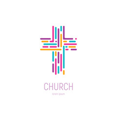 Abstract christian cross logo vector template. Church logo.