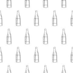 wine bottle seamless pattern isolated on white background