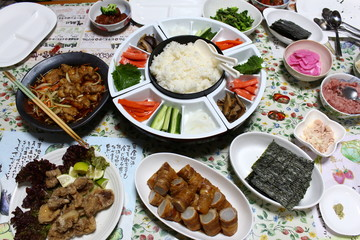 high view of local Japanese food