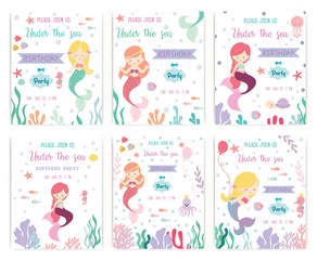 Set of cute mermaid theme birthday party invitation card vector illustration.