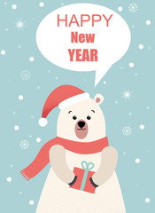 Happy New Year greeting card with cute cartoon bear with gifts.
