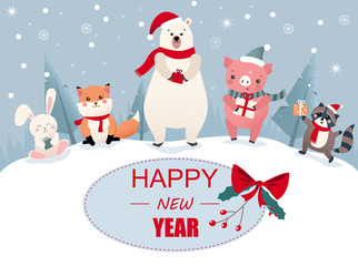 Happy New Year greeting card with cute cartoon animals and pig.