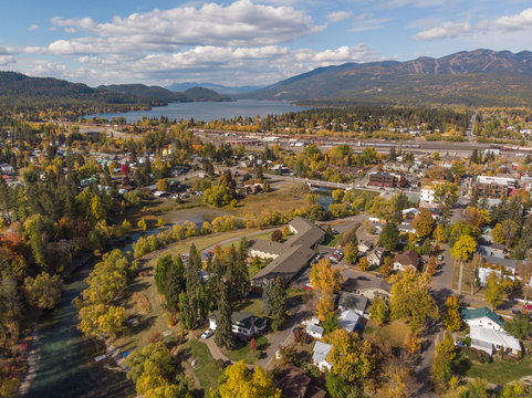 Birds eye view of fall colors surrounding the town of Whitefish Montana