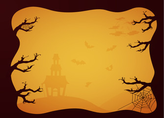 Halloween greeting card in paper style. Vector EPS10.
