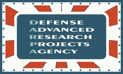 Acronym DARPA - Defense Advanced Research Projects Agency. USA administrative concept illustration