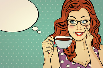 Tuinposter Pop Art Sexy pop art woman with coffee cup