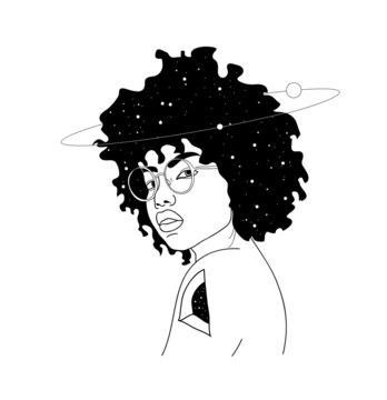 Vector hand drawn surreal illustration of woman with space instead of body . Surreal tattoo artwork . Template for card, poster, banner, print for t-shirt.