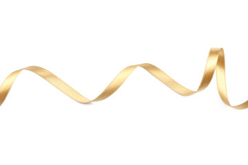Beautiful golden ribbon on white background