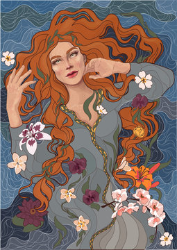 vector beautiful red-haired girl in an old-fashioned dress, waves of the river, water, and flowers