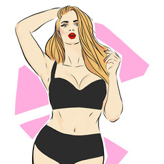 Fashion and beauty illustration. Girl sketch plus size model. Curvy plus size beautiful girl in bikini or swimsuit. Happy body positive concept. Pin up style. For fat acceptance movement, girl power